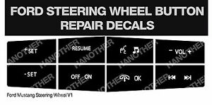 Ford Steering Wheel Button Repair Decals Stickers Mustang