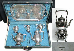 Japanese 950 Silver 8 Piece Tea Coffee Set With Tray Kettle In Fitted Case