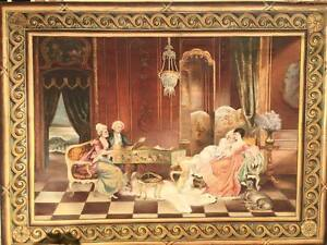 Monumental Hand Painted Antique French Tapestry On Large Wooden Frame