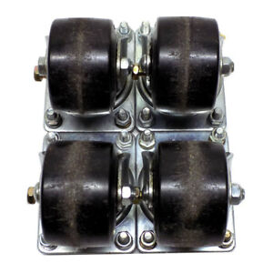 lot Of 4 Industrial 3 X 2 Swivel Casters Galvanized Steel Non locking