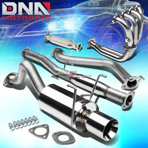 4 Rolled Tip Racing Catback header pipe Full Exhaust System For Del Sol Eg Eh6