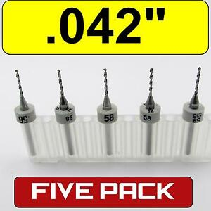 Five 042 1 07mm 58 Carbide Drill Bits 1 8 Shaft Cnc Pcb Model Hobby R s