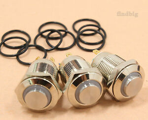 3pcs Led Metal Momentary Push Button Switch 4pin 12mm 3v Red green blue