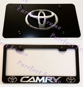 Toyota Camry Stainless Black Front License Plate Frame Combo Rust Free