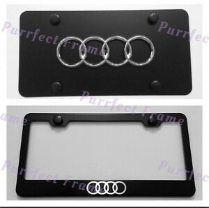 Audi Logo Stainless Black Front License Plate Frame Combo Rust Free