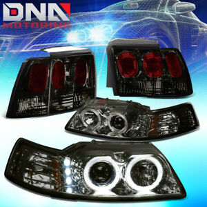 For 99 04 Mustang Black Dual Halo Projector Headlight smoke Altezza Tail Light