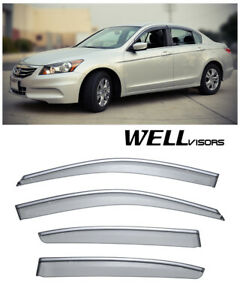 For 08 12 Honda Accord Sedan Wellvisors Side Window Visors W Chrome Trim