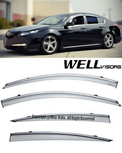 For 09 14 Acura Tl Wellvisors Smoke Side Window Visors Deflectors Rain Guard