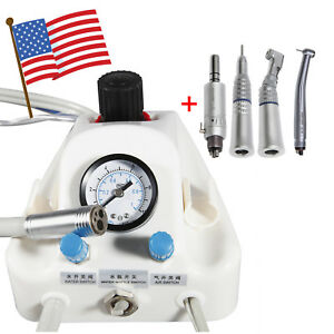 Usa Portable Dental Air Turbine Unit Work Syringe High Low Speed Handpiece 4hole