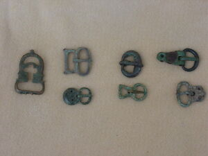 Large Lot Of Ancient Roman Bronze Belt Buckles Varying Sizes Most With Tongues