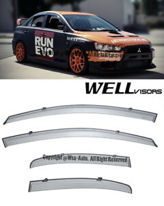 For 08 15 Mitsubishi Lancer Wellvisors Side Window Visors Rain Guard