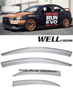 For 08 15 Mitsubishi Lancer Wellvisors Side Window Visors Rain Aerodyn Series