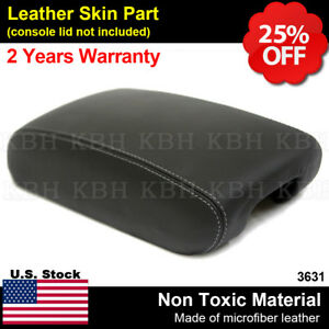 Black Console Armrest Leather Cover For Jeep Grand Cherokee 11 19 Gray Stitch
