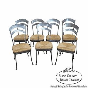 Quality Set Of 7 Brushed Steel French Country Style Ladder Back Dining Chairs
