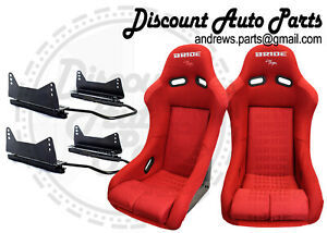 Bride Vios 3 Iii Red Gradation Seats Low Max Long Mounts And Sliders Pair Jdm