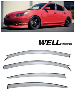 For 04 09 Mazda 3 Sedan Wellvisors Premium Series Side Window Visors Deflectors