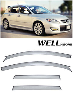 For 04 09 Mazda 3 Hatchback Wellvisors Side Window Visors Premium Rain Guards