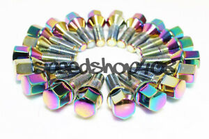 Z Racing 28mm Neo Chrome Lug Bolts 12x1 5mm For Mini Cooper 02 06 Cone Seat