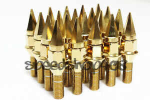 Z Racing 28mm Gold Spike Lug Bolts 12x1 5mm For Bmw 3 series Cone Seat
