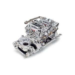 Edelbrock 20654 Dual Quad Manfld And Carb Kit Bb Chevy Oval Port