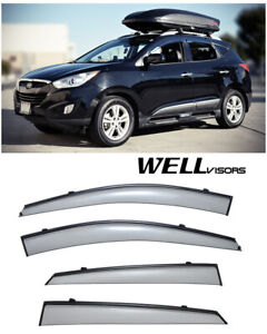 For 10 15 Hyundai Tucson Wellvisors Side Window Deflectors Visors W Black Trim