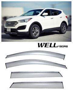 For 13 up Hyundai Santa Fe Wellvisors Side Window Visors W Chrome Trim