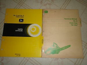 John Deere 8 Chain Saw Technical Service Manual Parts Catalog Lot