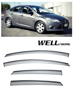 For 12 Up Ford Focus Wellvisors Side Window Defectors Visors W Black Trim