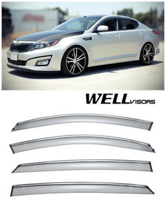 For 11 15 Kia Optima Wellvisors Side Window Visors Deflectors W Chrome Trim