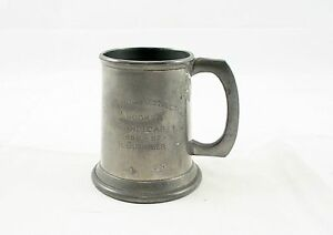 Pewter Beer Mug English Antique Stein Ell Ware England Circa 1956