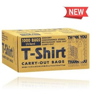 Plastic Shopping Grocery Bags 1000 Pc T shirt Carry Out Thank You Bag Recyclable