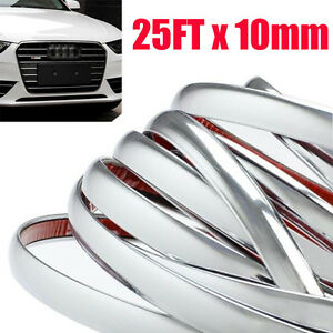 25ft 10mm Chrome Molding Trim Strip Pvc Car Styling Decoration Tape Adhesive