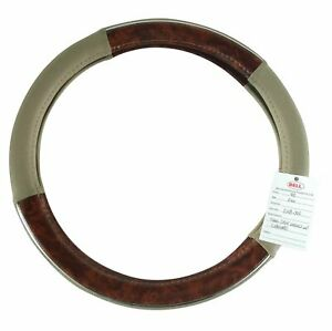 Bell Automotive Products Wood Chrome Steering Wheel Cover Tan 97391