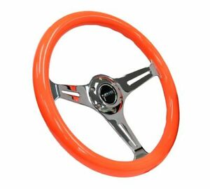 Nrg Wood Steering Wheel 350mm Chrome 3 Spoke Center Neon Orange