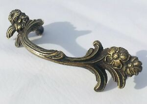 Brass French Provincial Antique Drawer Pull Architectural Hardware 3 Center