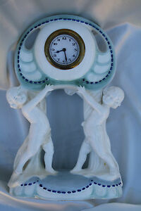1930s Germany Clock Two Boys Statue
