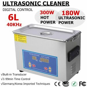 6l Digital Stainless Steel Ultra Sonic Bath Cleaning Tank Cleaner Tim