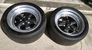 11x17 Porsche 911 930 Fuchs Alloy Wheels Rims Race Slick Tires Set Of 2