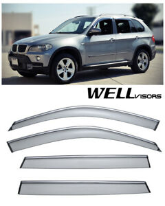 For 07 17 Bmw X5 Wellvisors Side Window Visors W Chrome Trim