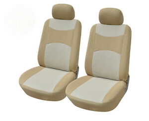 2 Car Seat Covers Semi custom Polyester Compatible Toyota 860 Tan