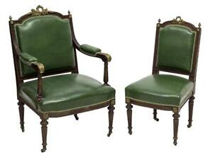 2 Louis Xvi Style Brass Mounted Parlor Chairs 19th Century 1800s