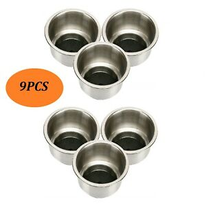 9pcs Free Ship Stainless Steel Cup Drink Holder With Drain Marine Boat Rv Camper