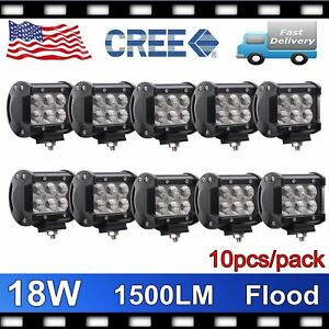 10x 4 18w Led Work Light Bar Cree Flood Driving Jeep Truck Off Road Cube Pods