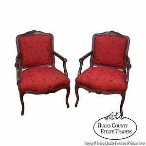 Quality Pair Of French Louis Xv Style Fauteuils Arm Chairs