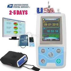 Contec 24h Ambulatory Blood Pressure Monitor Abpm Holter Ecg Systerm Adult Cuff