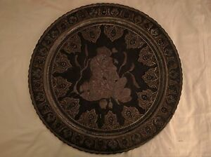 Persian Copper Ornamental Hand Etched Tray Art Ghalamzani