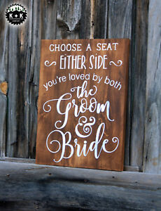 Large Primitive Handmade Wooden Sign Choose A Seat Wedding Rustic Distressed
