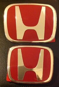 Honda Red H Jdm Emblem 2 Pcs Badge Civic 2dr Coupe Dx Ex Lx Si Front