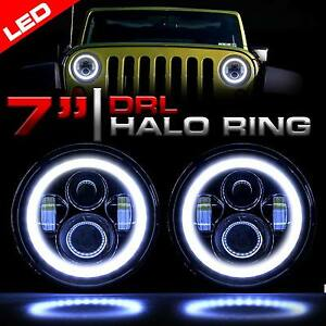 Led Headlight Black Vader Set With Halo Rings For Jeep Wrangler Jk 2007 2018
