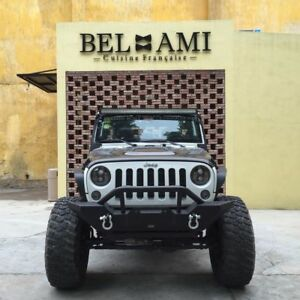 07 18 Jeep Wrangler Jk Blk Front Bumper With Winch Plate With 2 D rings